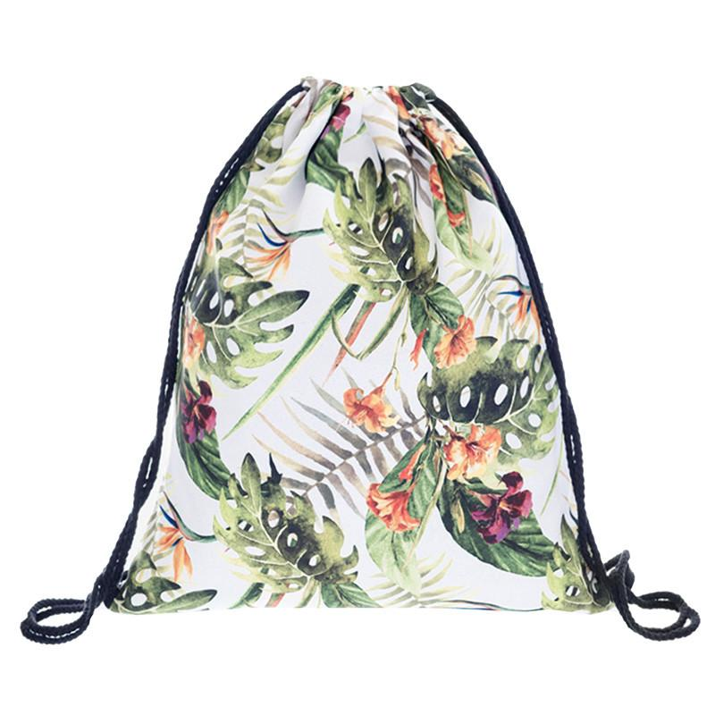 Fashion Storage Bag 3d Flowers Printed Women Drawstring Shopping Bag Floral Pattern 30*39cm 11.8*15.4'' 1pcs Lot