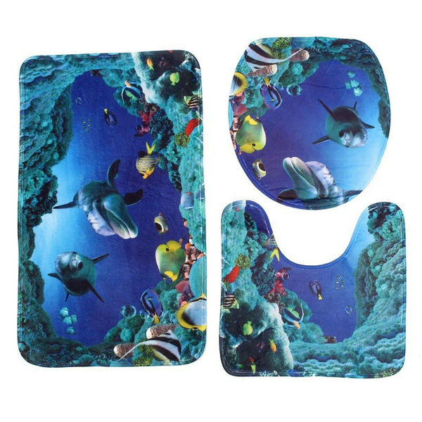 Flannel Seashell Contour 3pcs Sea World Design Pedestal Rug Bath Mat Pedestal Rug Lid Toilet Cover Carpet Bathroom Set