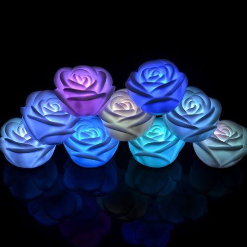 Flower Led Candle Romantic Night Floating Rose Flower Dinner Home Decor 1pcs