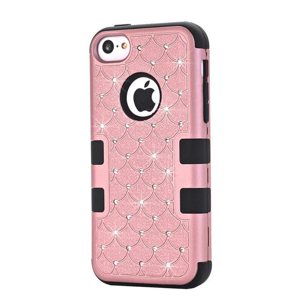 For Apple Iphone 5c Case Hybrid Bling Diamond Case 3 In 1 High Impact Heavy Duty Hard Rugged Rubber Case Cover For Iphone5c