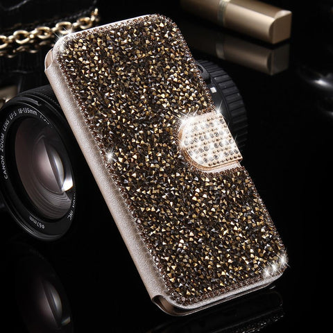 For Galaxy S7 Case S7 Edge Cover Luxury Bling Diamond Glitter Cases For Samsung Galaxy S7 S7 Edge Women Wallet FlipLeather Capa