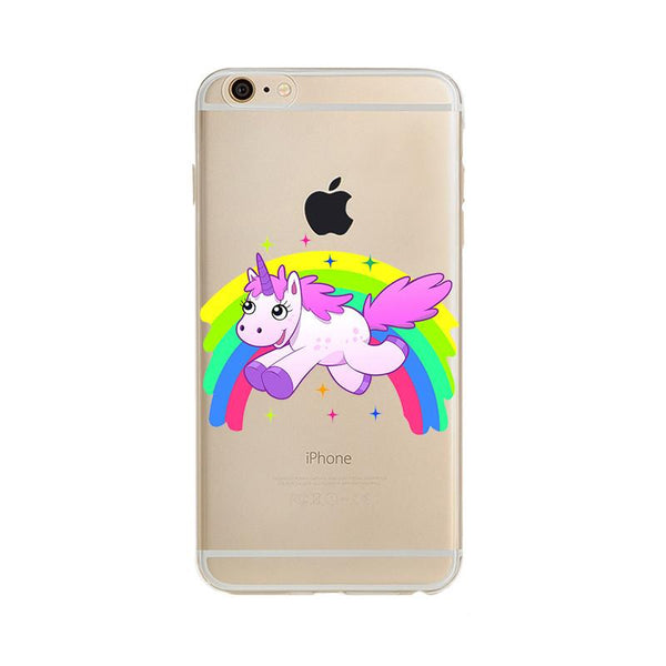 For Iphone 5s 5 Se 6 7 Plus Case 6s Plus Cover Rainbow Unicorn Pattern For Apple Iphone 7plus Case Soft Tpu Silicone Phone Coque