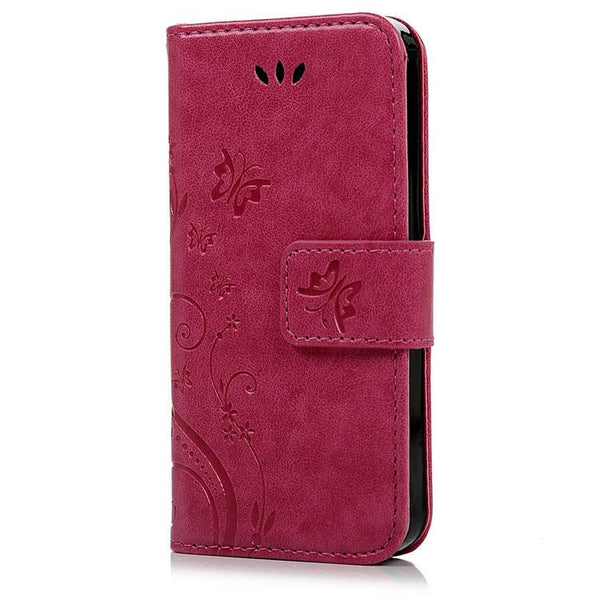 For Iphone 5s Fashion Flower Printing Luxury Pu Leather Stand Wallet Flip Cover Phone Case For Iphone 5 5s Se With Card Slots