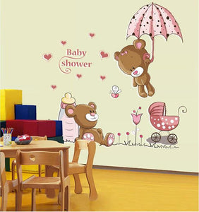 [fundecor] Diy Decals Removable Baby Shower Cute Cartoon Bear Home Decor Wall Stickers For Kids Rooms 5274