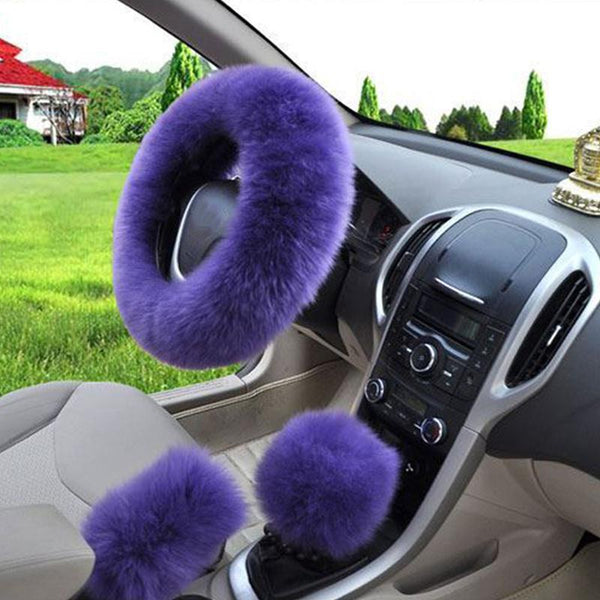 5 Colors 3pcs Set Pink Wool Plush Car Steering Wheel Cover Sets Spring Fur Leather Handle Sleeves