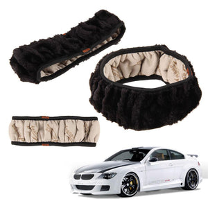 High Density Thickened Car Fur Steering Wheel Cover Universal O Shi Car Soft Warm Plush Winter Steering-wheel Cover Car-styling