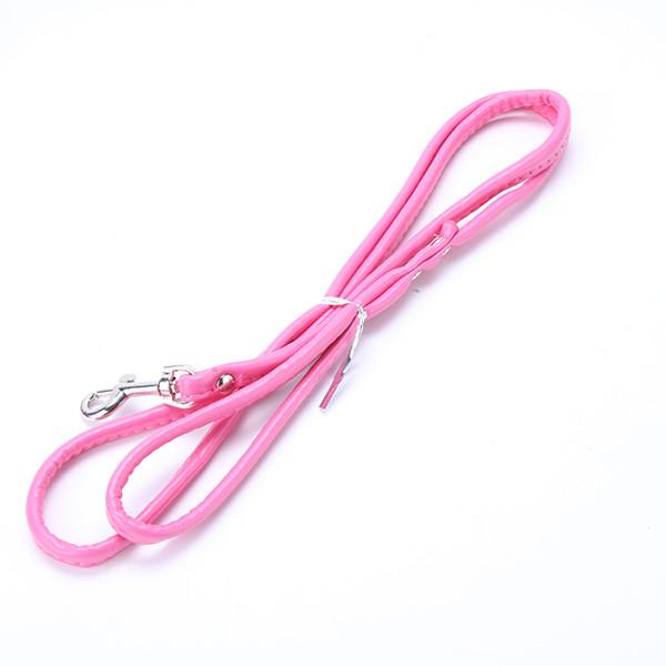 Pet Puppy Dog Cat Smooth Pu Leather Leash Solid Color Long Dog Walker Lead Rope
