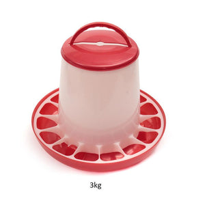 Useful 3kg Red Plastic Feeder Baby Chicken Chicks Hen Poultry Feeder Lid And Handle 23x26x3.5cm