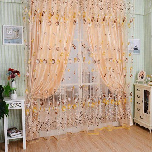 Home Decoration Leaves Pattern Design Window Curtains 1*2 M Voile Sheer Drapes For Living Room Curtain Tulle Window P17