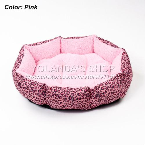 S Colorful Leopard Print Pet Cat And Dog Bed Pink Blue Yellowish Brown Deep Pink Size M L