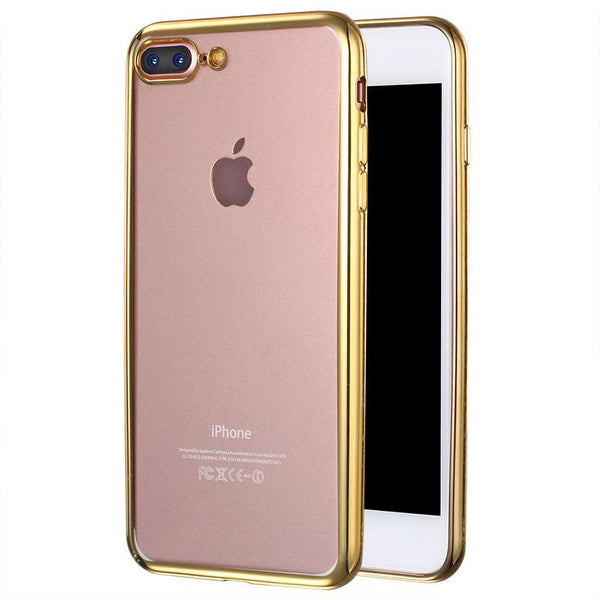 Luxury Silicone Case For Iphone 7 7 Plus Transparent Soft Back Cover Gold Coque Fundas For Apple I Phone 7 Plus 5.5 inch Capinha