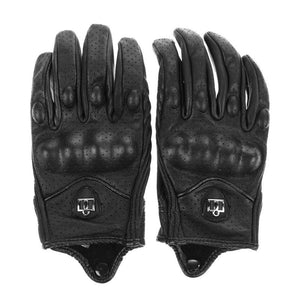 Men Motorcycle Gloves Outdoor Sports Full Finger Motorcycle Riding Protective Armor Black Short Leather Warm Gloves M L Xl