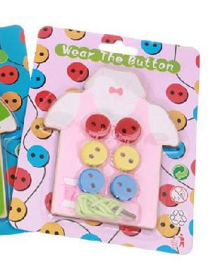Montessori Baby Toys 2 Kinds Wear The Button Wooden Toys Educational Threading Board Beaded Blocks Child Birthday
