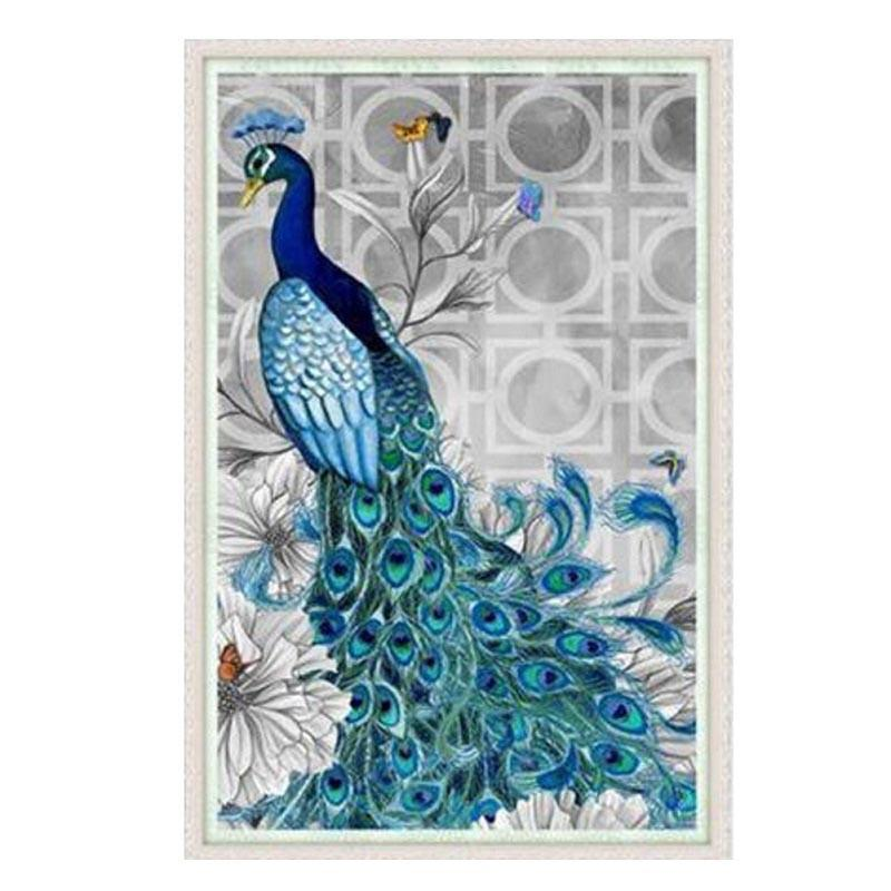 Most Popular European Style Blue Peacock 5d Diamond Painting Full Embroidery Round Diamond Rhinestone