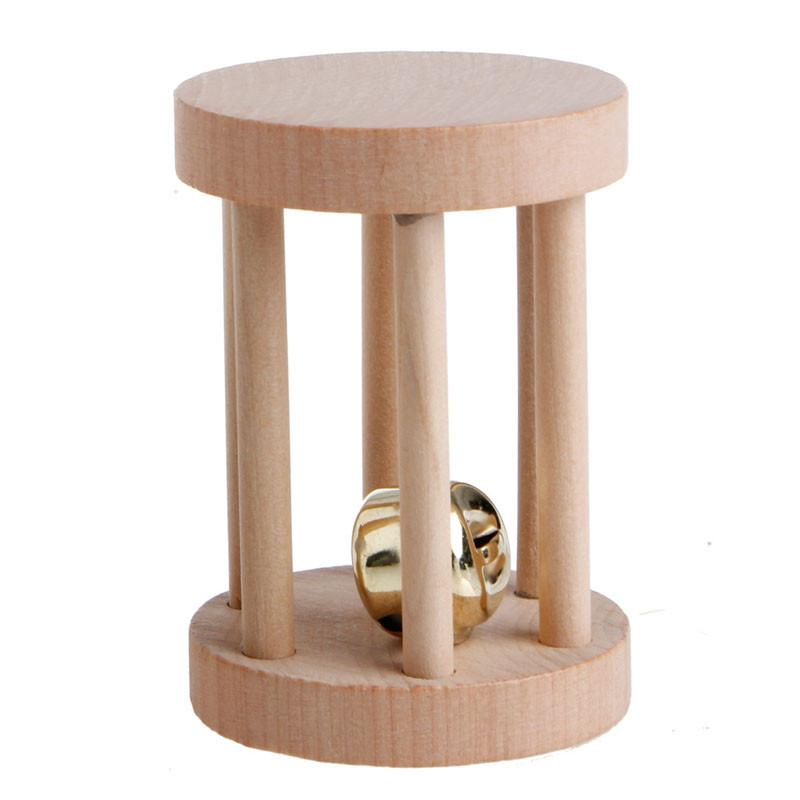 Natural Wood Dumbell Unicycle Bell Roller Chew Toys For Pet Rabbits Hamsters Rat
