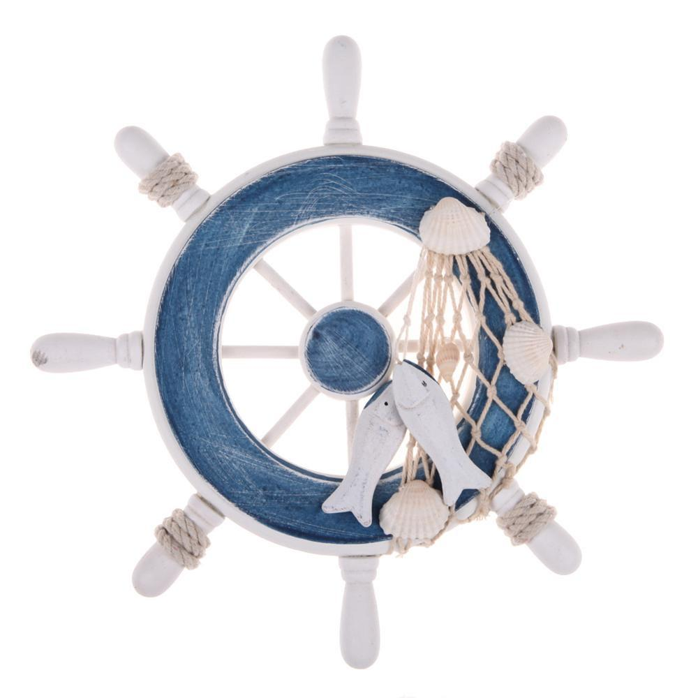 9 Inch Blue White Beach Wooden Boat Ship Rudder Fishing Net Home Wall Nautical Decoration 23 X 23 X 2.3 Cm