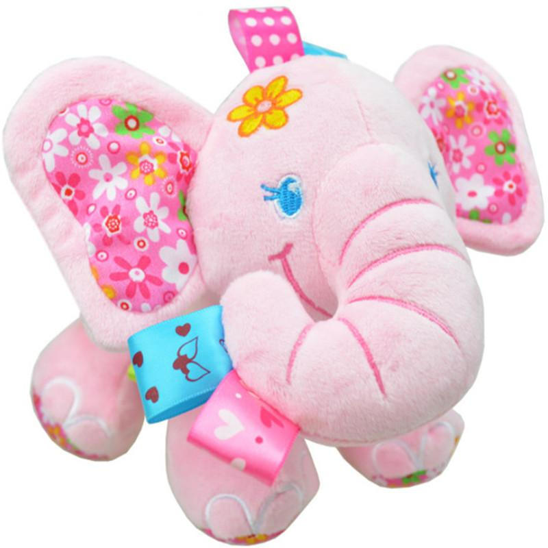 Animal Elephant In Pink Soft Plush Crib Bed Car Hanging Hand Rattles Baby Toys Girl Boy Toys