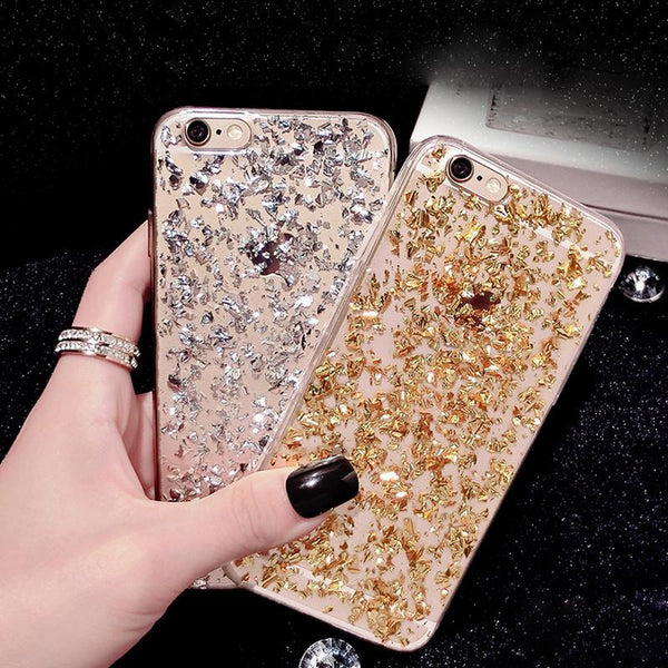 Gold Bling Paillette Sequin Skin Clear Luxury Soft TPU Case For iPhone 6 6S Plus 5 5S SE Slim Rubber Back Cover