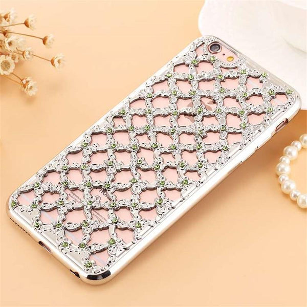 Luxury 3d Diamond Hollow Grid Rhinestone Capa Soft Tpu Phone Cases Cover For Samsung Galaxy J3 J5 J7 2016 J310 J510 J710