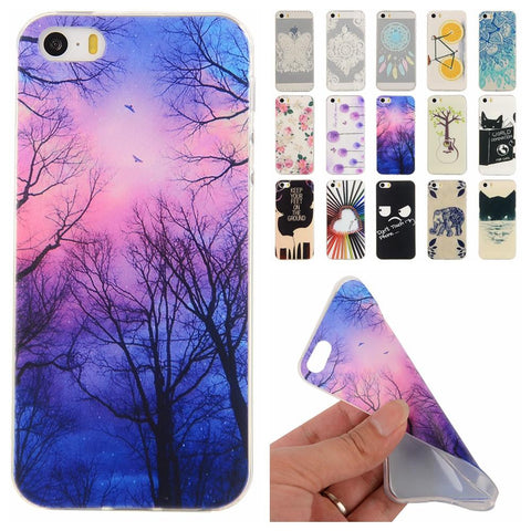 Soft TPU Cute Cartoon Phone Cases for Apple iPhone 5 5S 5G Slim Rubber Back Cover Silicon Gel Cover Fundas for iPhone 5 s
