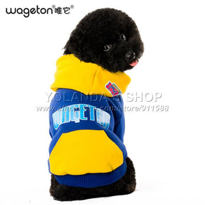 Wageton Designer Dog Clothes And Pet Puppy Cat Coat Hoodie Sweater T-shirt Costumes -4 Colors Apparel