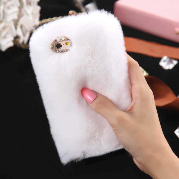 Winter Real Rabbit Fur Case For Iphone 6 6s Fashion Luxury Cute Cartoon Hair Bling Diamond Cover For Iphone 6 Plus 6s Plus