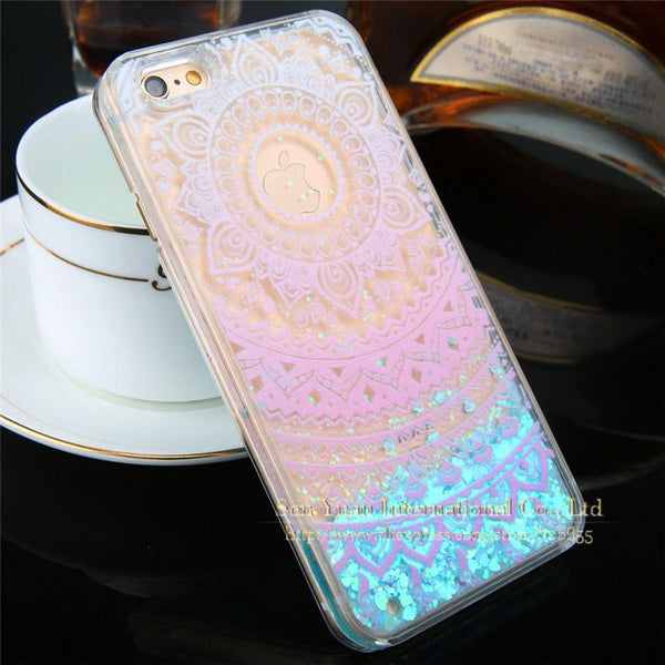 Est Dynamic Liquid Glitter Star & Love Hearts Quicksand Case For Iphone 6 6s Plus 7 7 Plus Crystal Clear Phone Back Cover