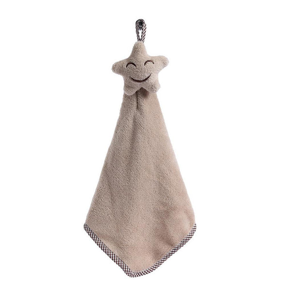 Quick-drying Smiling Face Hanging Hand Towels Kitchen Towel Coral Velvet Absorbent Lint- Cloth Dishcloths