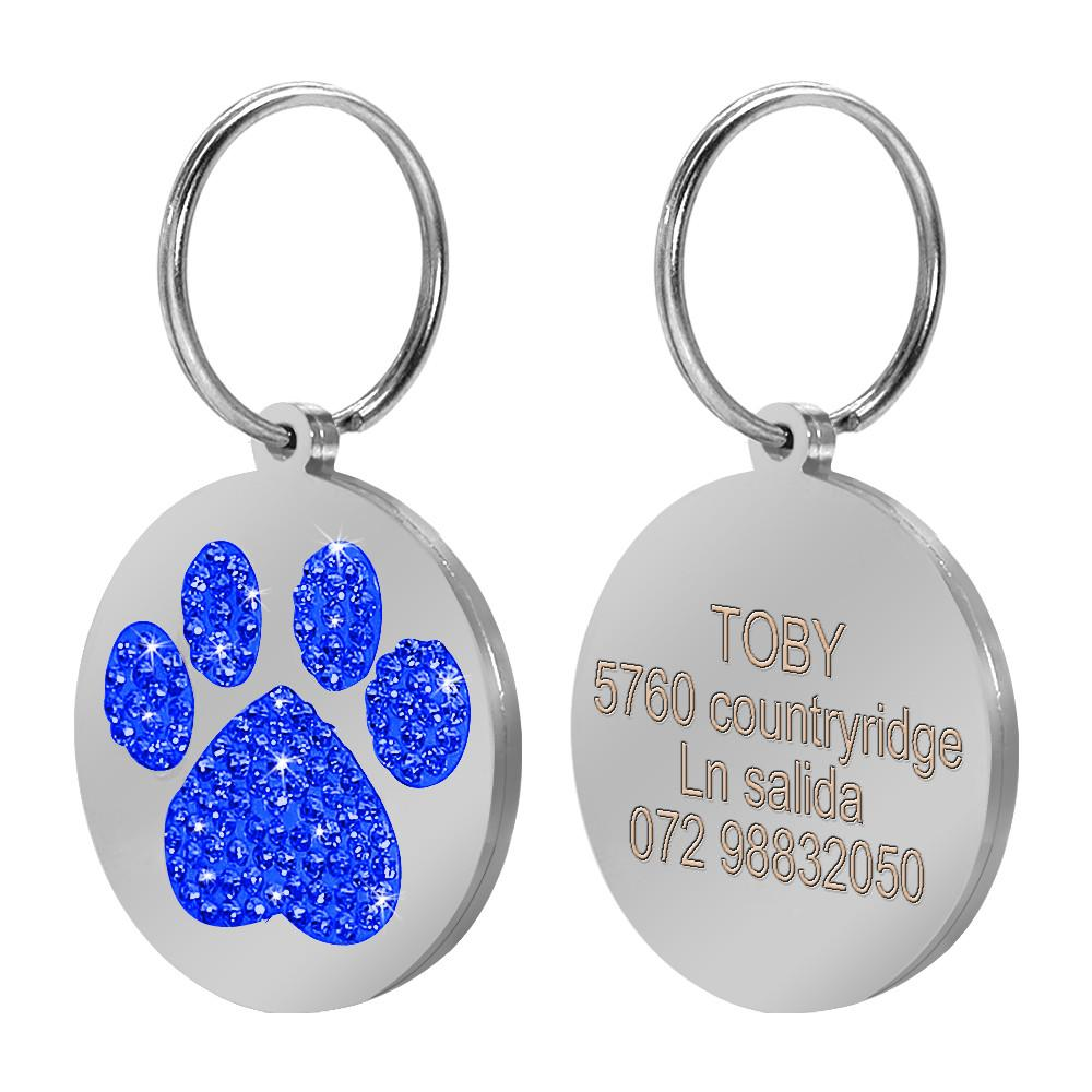 Rhinestong Paw Print Dog Id Tags Personalized Bling Dogs Collar Tag Custom Cat Kitty Tag Engraving With