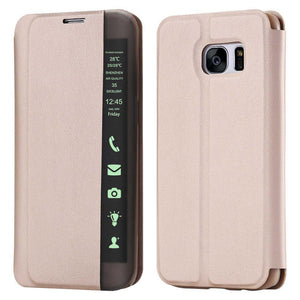 S7 Edge Smart Sleep Flip Stand Pu Leather Case For Samsung Galaxy S5 S6 Edge Plus S7 Edge Mate 7 8 Note 5 4 3 Led Holster Cover