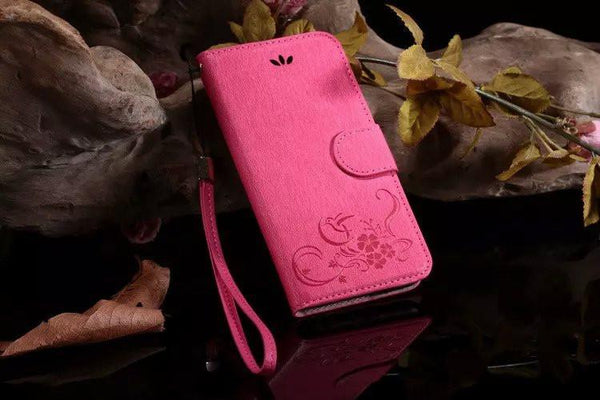 Sling Flip Cover Case For Iphone 5 5s Se 6 6s 6 6s Plus Wallet Bag Case Luxury Embossing Flower Leather Phone Pouch Case