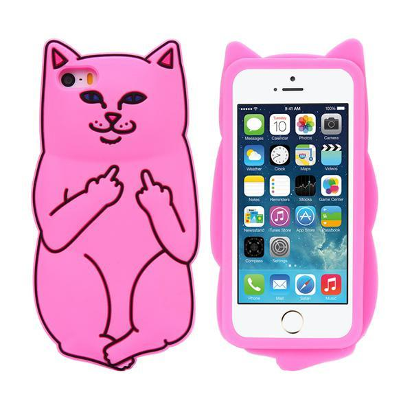 Soft Silicon Cat Case For Iphone 7 6 6s Plus 5 5s Cases 3d Cartoon Animals Rubber Middle Finger Cover For Iphone 6 6s Coque Capa