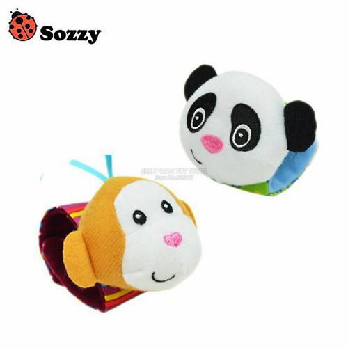 Sozzy 2pcs Soft Baby Toy Wrist Strap Socks Cute Cartoon Garden Bug Plush Rattle With Ring Bell 0m+