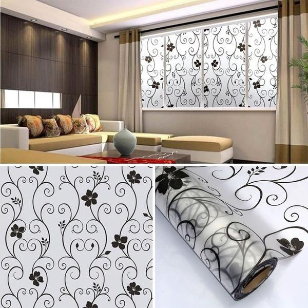 Sweet Frosted Privacy Cover Glass Window Door Black Flower Sticker Film Adhesive Home Decor E2s