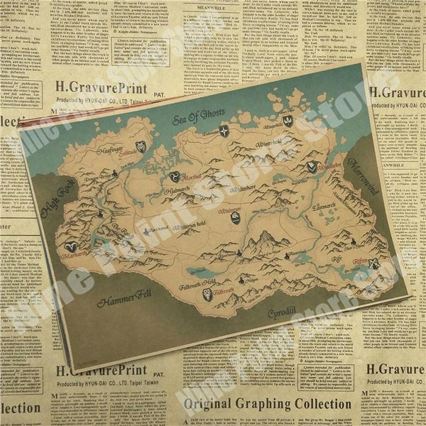 The Elder Scrolls V Skyrim Classic Game Kraft Paper Poster Bar Cafe Living Room Dining Room Decorative Paintings