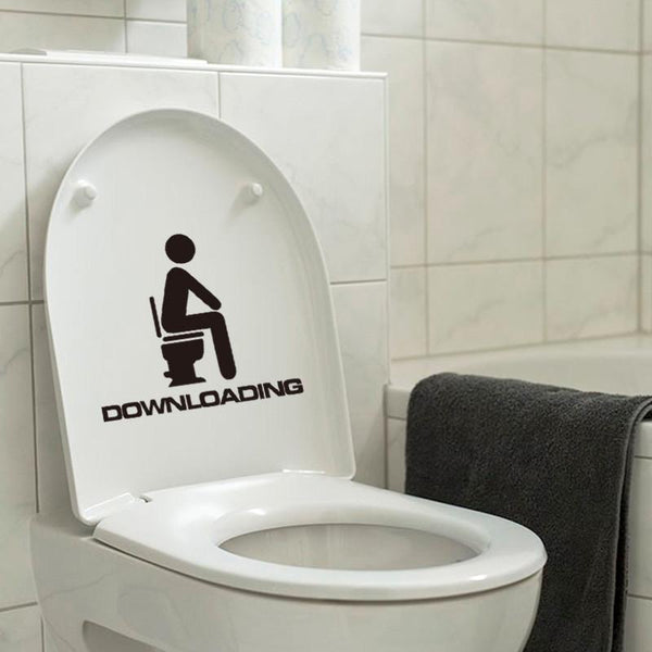 The Downloading Toilet Stickers Wall Decorations Diy Vinyl Adesivos De Paredes Home Decal Mual Art Waterproof Posters Paper