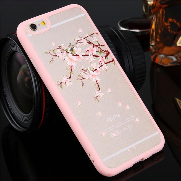 Top Quality Cartoon Cat Cherry Tree Pattern Phone Case For Iphone4 4s 5 5s 5c 6 6s Se Hard Transparent Flowers Series Back Cover