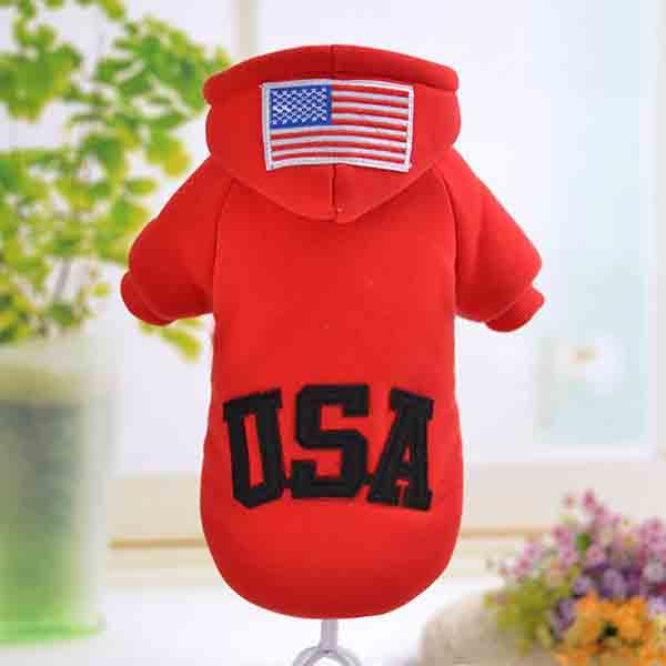 Usa Flag Fashion Pet Apparel Dog Clothes Small Dogs Coat With Hooded Gray Red Black Pet Sportwear Sweatercoat In Autumn Winter