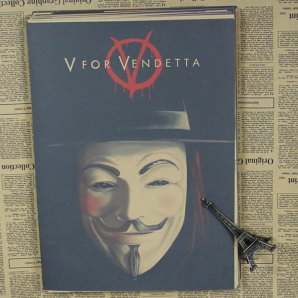 Vintage Paper Retro Anime Poster - V For Vendetta -posters Kid Cudi Poster Vintage Home Wall Sticker Decor 30*21cm