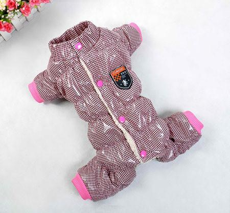 Pet Puppy Dog Clothes Autumn Winter Overall Thickening Dog Down Jumpsuit Warm Lining Puppy Coat Size 8-18