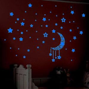 A Set Kids Bedroom Decoration Fluorescent Glow In The Dark Stars Wall Stickers Happy