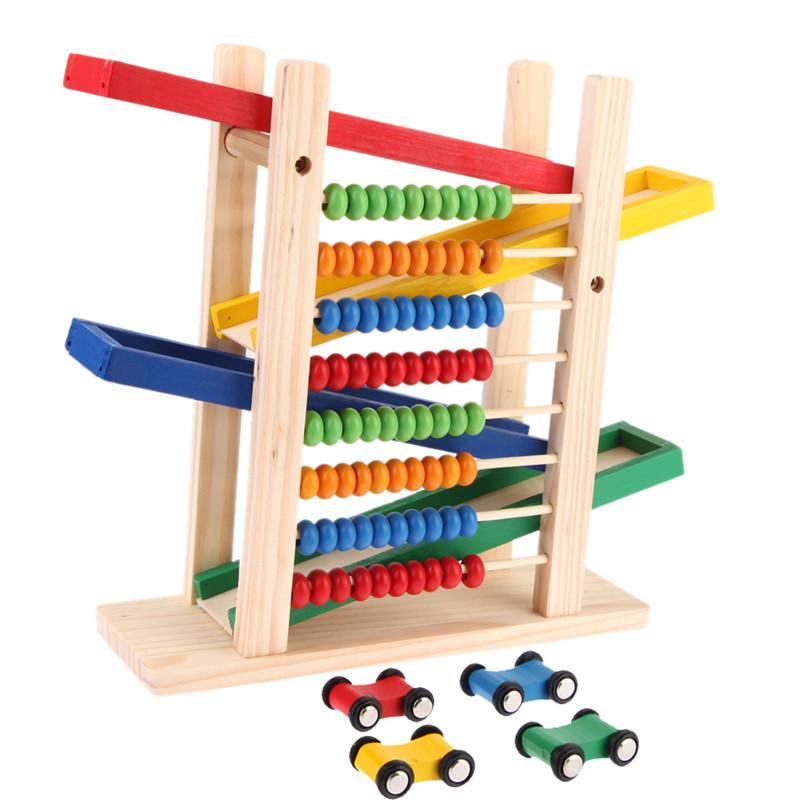 Abacus Building Block Toy bear with four car Fun Block Board Game Toy Wooden Educational Toy for Children Abacus Slippery Car