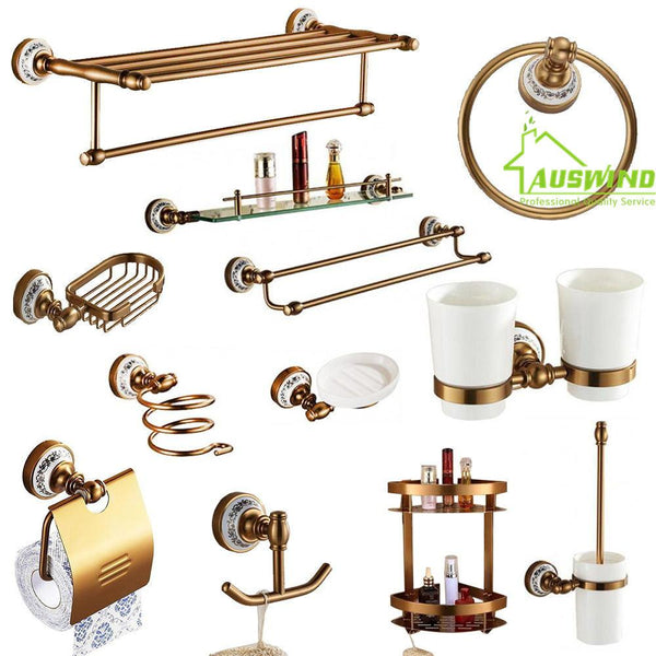 Antique Brushed Aluminum Bathroom Accessories Sets European Porcelain Bathroom Hardware Sets Ceramic Bathroom Products