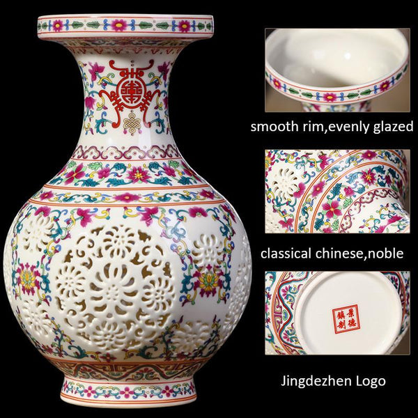 Antique Jingdezhen Ceramic Vase Chinese Pierced Vase Wedding Home Handicraft Furnishing Articles