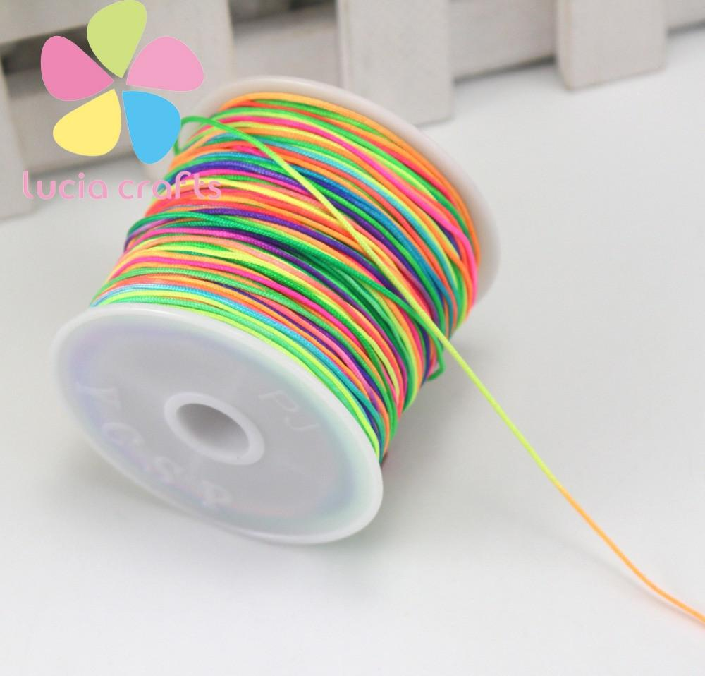 Approx 45m lot 0.8mm Rainbow Tassel Cord DIY Bracelet Necklace Waxed Thread Jewelry Rope Chinese Knot Line 006013012