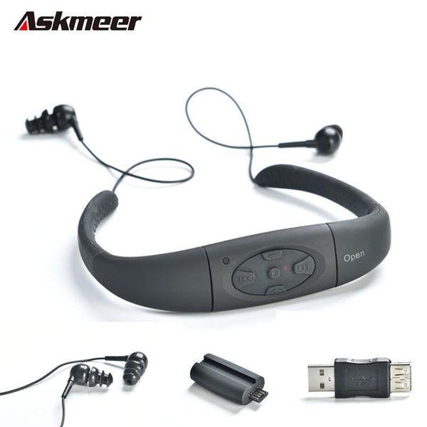 Askmeer 8GB Underwater Sport MP3 Music Player With FM Neckband Swimming MP 3 Players for Diving Surfing Sports IPX8 Waterproof