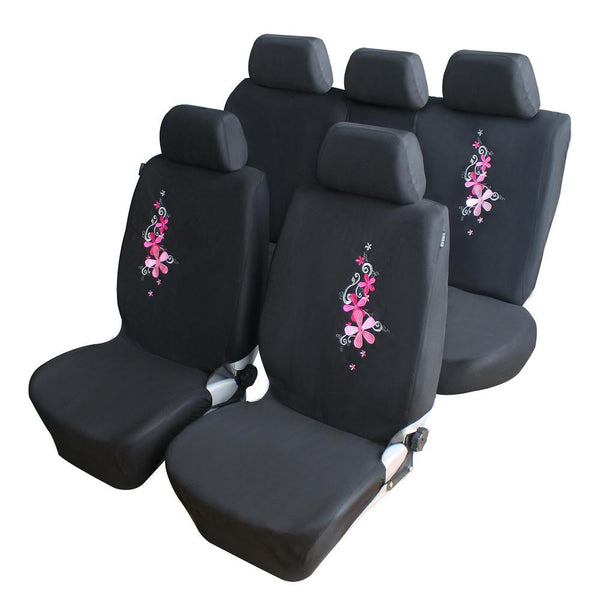 AutoCare 2016 Flower Embroidery Car Seat Cover Universal Fit 9PCS and 4PCS Pink Car Covers Car Styling Car Seat Protector