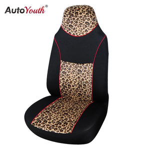 AUTOYOUTH Leopard Animal Print Integrated High Back Bucket Seat Cover Universal Fit Most Car Seat Cover Interior Accessories