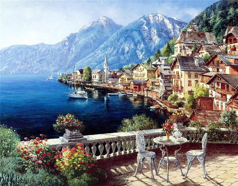 Beauty Life Diamond Mosaic Landscape seaside mountain town dimensional embroidery 3D DIY diamond painting nature scroll painting