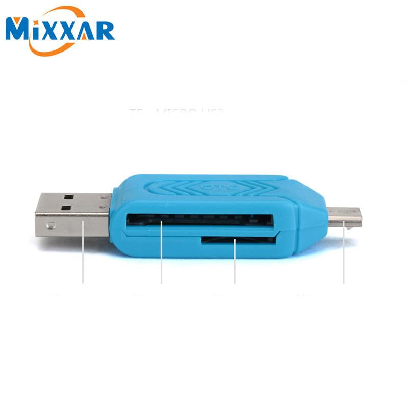 Blue Portable 2 in 1 Universal Micro USB SD Card Micro USB OTG adapter For Android Mobile Phone USB Flash Drive